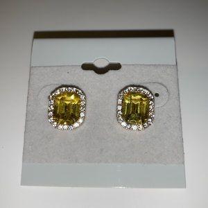 Amber Yellow Rhinestone Studs